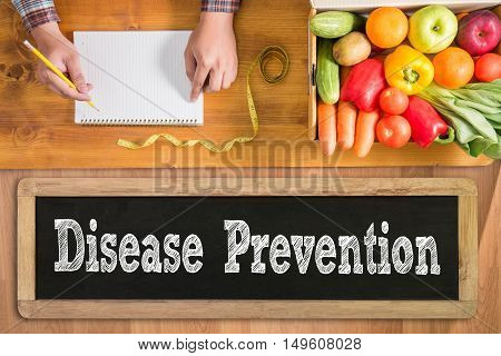 Disease Prevention doctor work hard top view  concept