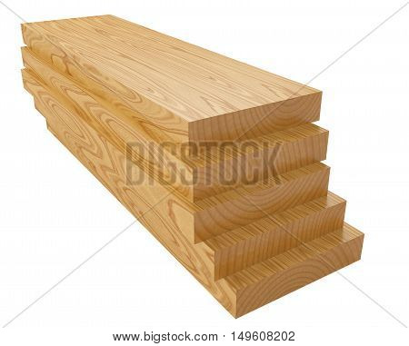 Wooden planks. 3d illustration isolated on a white background.