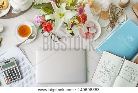 Laptop Working Home Nature Concept