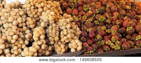 Mangosteen and Longkong, plantly of fruits Background