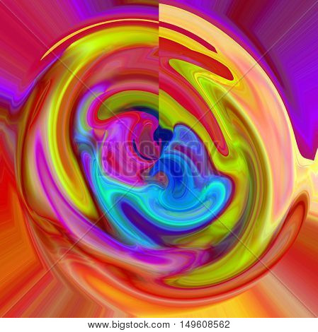 Abstract coloring background of the abstract gradient with visual lighting, shear, wave and polar coordinates effects.
