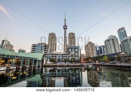 View of Toronto Harbour Front during sunset