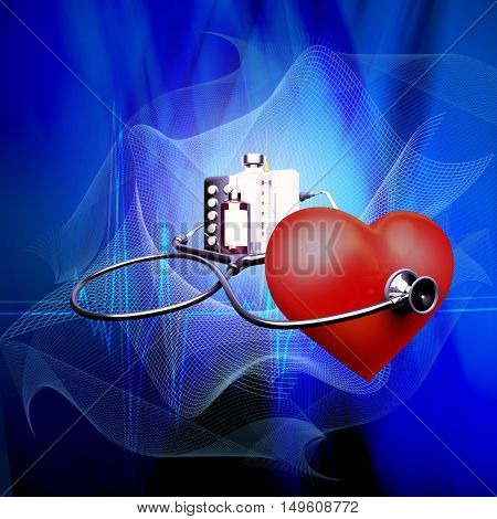Stethoscope on heart and also tablets and injections on a blue background. 3D illustration