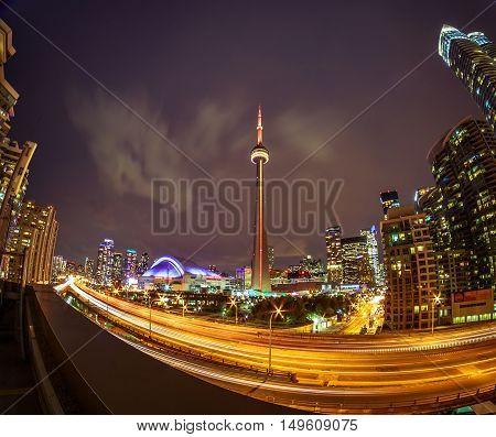 View of Toronto downtown at night/ sunrise/ sunset
