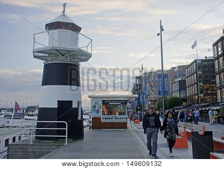 Oslo, Norway - September 16, 2016: Aker Brygge In Oslo And Light