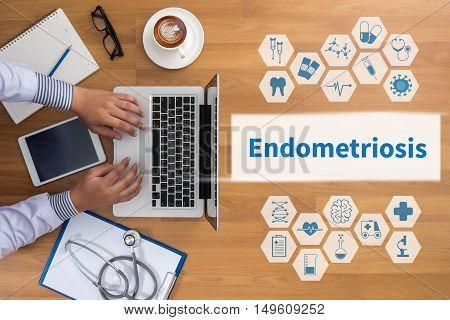 Endometriosis doctor work hard top view  concept