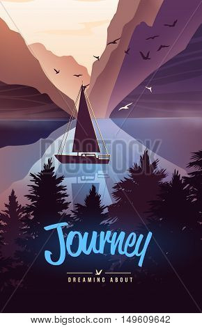Nature landscape background with lake and silhouettes of mountains and trees. Vector Illustration