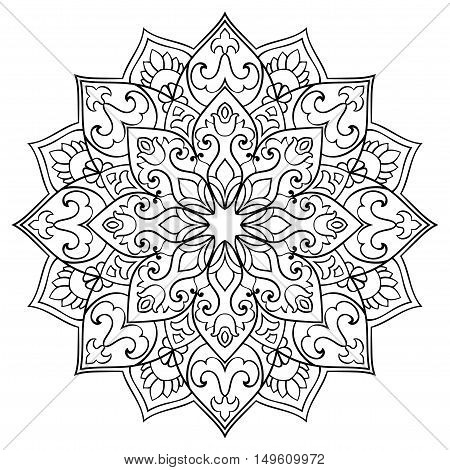 Vector contour mandala on a white background. Oriental ornament. Round element for design. Sketch for tattoo.