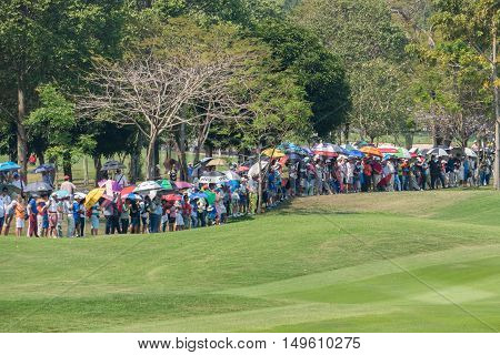 CHONBURI - FEBRUARY 28 : Many people wait for a match in Honda LPGA Thailand 2016 at Siam Country Club Pattaya Old Course on February 28 2016 in Chonburi Thailand.