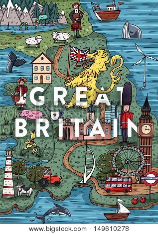 Funny Hand drawn Cartoon Great Britain map with most popular places of interest. Vector illustration