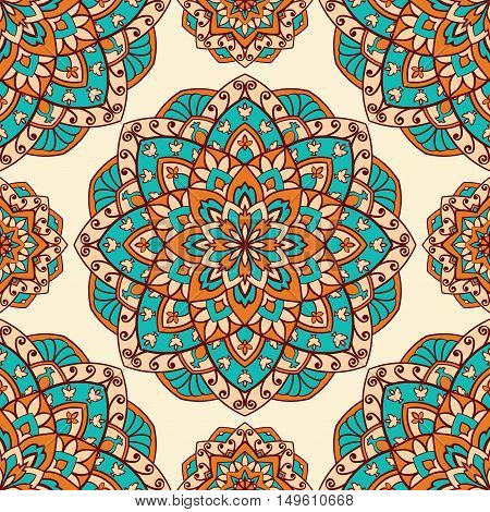 Seamless vector background. The pattern with colorful filigree mandalas. Oriental orange and turquoise ornament. Template for textiles.
