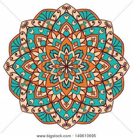Vector colorful mandala on a white background. Oriental orange and turquoise ornament. Round element for design.
