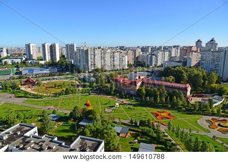 Moscow, Russia - September 01.2016. Top view of Boulevard 16 in a district Zelenograd