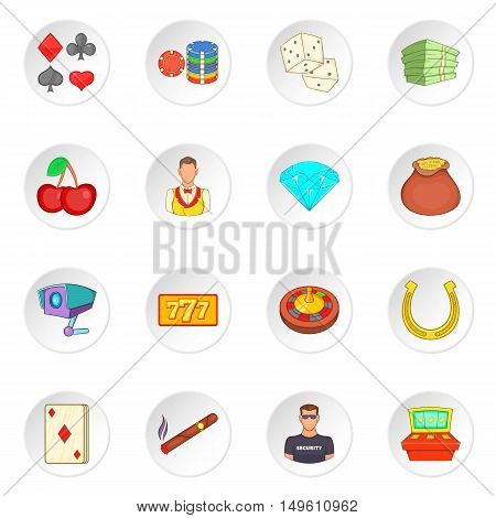 Casino icons set in cartoon style. Gambling set collection vector illustration