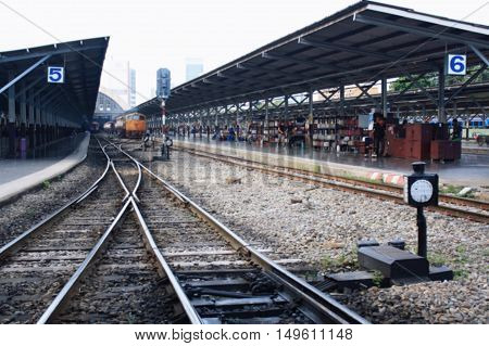 Dark Blurred Train Station In Bangkok,thailand