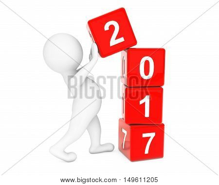 New 2017 Year Concept. Person Placing 2017 New Year Cubes on a white background. 3d Rendering