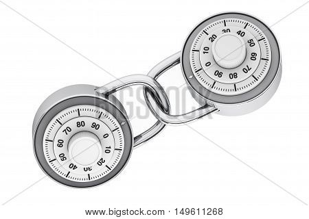Two Linked Padlocks with Combination Lock on a white background. 3d Rendering
