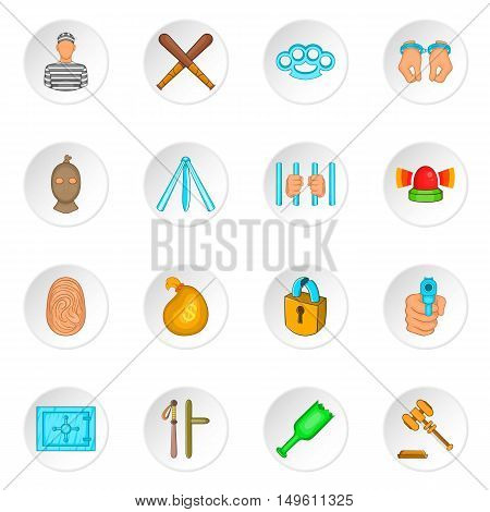 Crime icons set in cartoon style. Crime and punishment elements set collection vector illustration