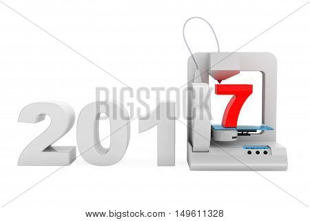 Modern Home 3d printer print New 2017 Year Sign on a white background. 3d Rendering