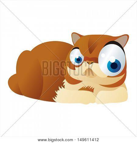 cute vector comic cartoon animal. Cool colorful British Cat design
