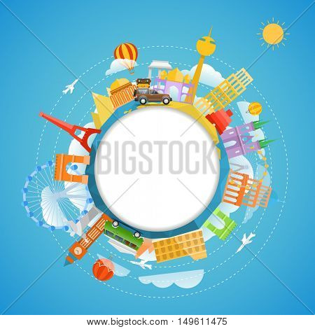 Famous signts around the world. Copy-space vector illustration