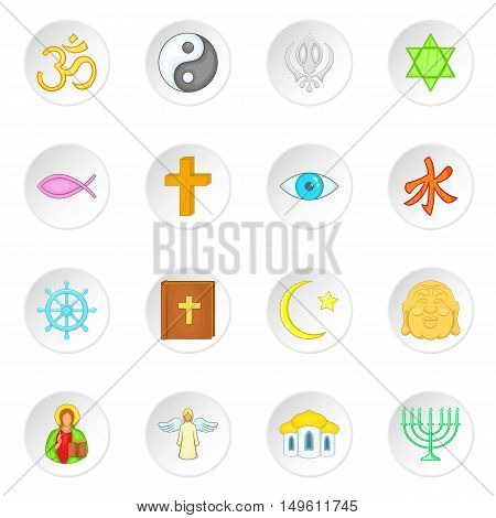Religion symbols icons set in cartoon style. World religions set collection vector illustration