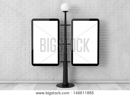 Street Lamp with Blank Banners in front of brick wall. 3d Rendering
