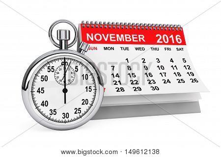 2016 year calendar. November calendar with stopwatch on a white background. 3d rendering