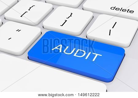 Blue Audit Key on White PC Keyboard extreme closeup. 3d Rendering