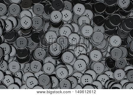 Sewing Buttons background. Black Sewing Buttons extreme closeup. 3d Rendering