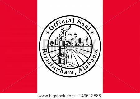 Flag of Birmingham is the largest city in Alabama United States