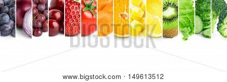 Collage of color fruits and vegetables. Fresh food. Fruits and vegetables concept