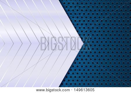 Blue perforated background with metal plate. Vector illustration