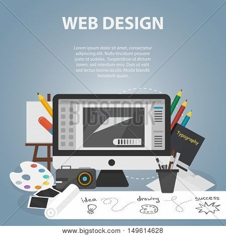 Vector flat banner of graphic web design for website and apps. Business concept poster of creative process and drawing. Set of art equipment.