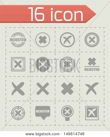 Vector Rejected icon set on grey background