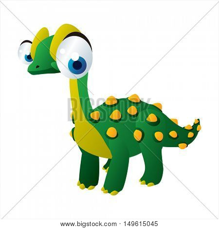 cute vector comic cartoon animal. Cool colorful dinosaur Janenschia