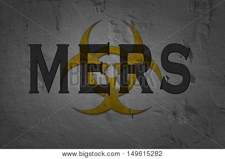 Word Mers isolated on dark background with biohazard sign.