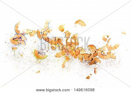 Pile of colorful pencil shavings on white background