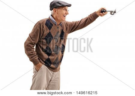 Excited elderly man honking a horn isolated on white background