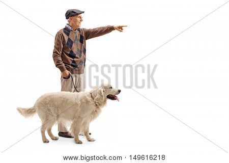 Full length profile shot of a mature man showing something in the distance to his dog isolated on white background