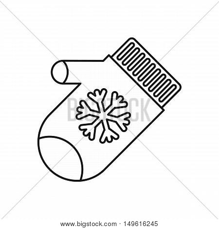 Mitten with snowflake icon in outline style on a white background vector illustration