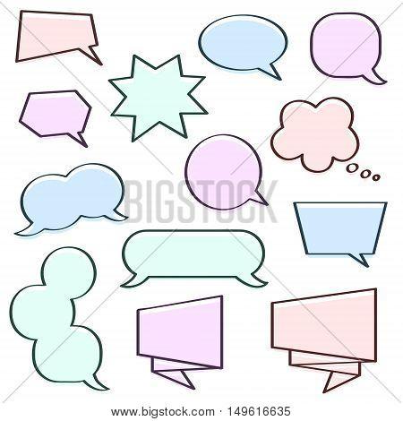 Multicolor (light pink light blue light green light violet ) offset printing vector speech bubbles set. Perfect for comics pictures!