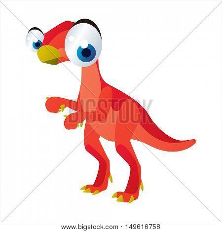 cute vector comic cartoon animal. Cool colorful dinosaur Psittacosaurus