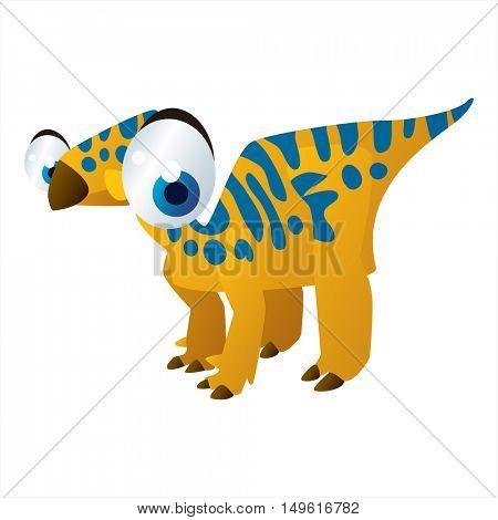 cute vector comic cartoon animal. Cool colorful dinosaur Iguanodon