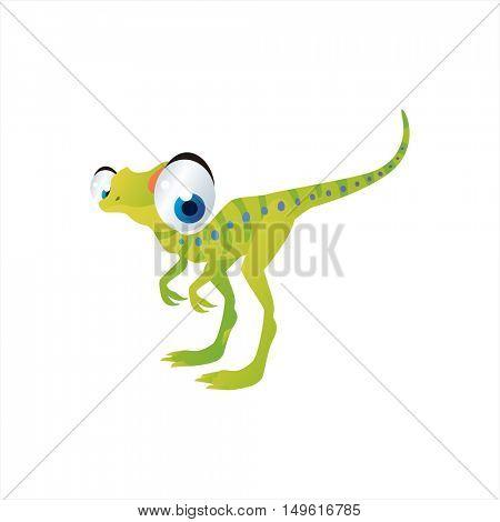 cute vector comic cartoon animal. Cool colorful dinosaur Compsognatus