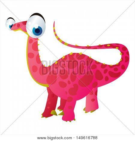 cute vector comic cartoon animal. Cool colorful dinosaur Apatosaurus