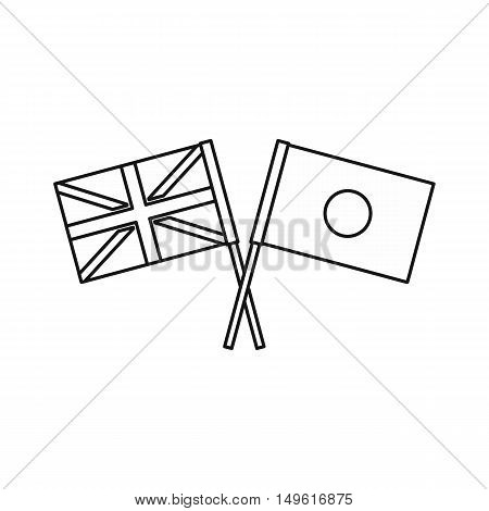 UK and Japan flags icon in outline style on a white background vector illustration