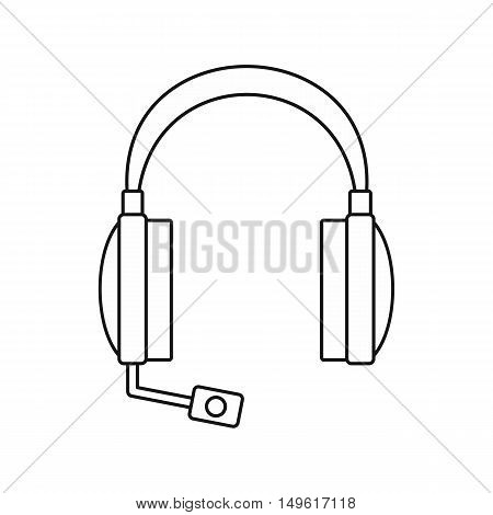 Headphones icon in outline style on a white background vector illustration