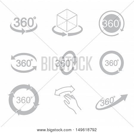 360 degrees view sign icon on the white background