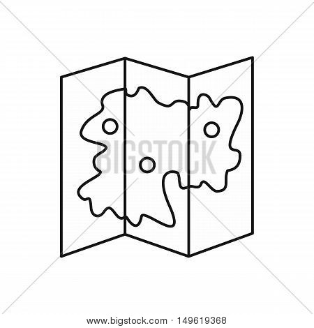 Map icon in outline style on a white background vector illustration